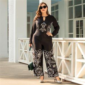Oversize floreali delle donne delle tute a gamba larga scollo a V con maniche lunghe leggera casuale fitness Black Summer Womens pagliaccetti Designer