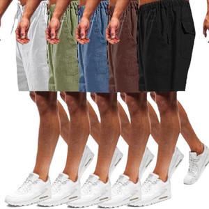 5 Color S-5XL Summer Casual Mens Linen Cotton Loose Pockets Drawstring Flax Shorts Plus Size Men pant Beach Short Trouser