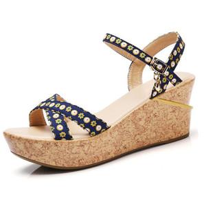Sommer Schuhe Frau Blume Peep Toe Wedges Dicke Untere Plateauschuhe Erhöhen Freizeit Sandalen zapatos mujer tacon Sexy