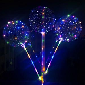 Globo bobo LED parpadeante Con 70cm globo Cadena Polo 3M transparente de iluminación luminoso globos para fiesta de cumpleaños de la boda Decoración RA2186