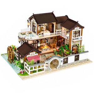 Casa de muñecas de Cutebee Casa de muñecas de bricolaje en miniatura con muebles Casa de madera Countryard Dweling Juguetes para niños Regalo de cumpleaños 13848 Y19070503