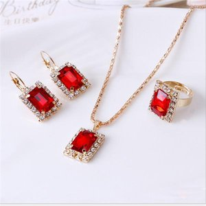Bridesmaid Jewelry Set for Wedding Gold Like 925 sterling silver chains Necklace pendant Earring For Women Gemstone Rings Party Jewelry Set