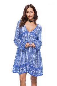 Art-Kleid-Damen tiefere V-Ausschnitt, Frühling, Sommer Designer Langarm-Backless Kleider Weibliche beiläufige Strand-Kleidung der Frauen reizvolle böhmisch
