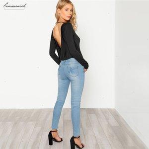 Black Backless Solid Skinny Bodysuit Round Neck Open Back Long Sleeve Draped Plain Women Rompers Sexy Bodysuit
