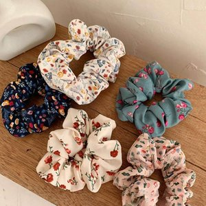 Mixed New Flower Print Scrunchies Headwear Large intestine Hair Ties Ropes Elastic Hairbands Children Girls Ponytail Holder Hair Accessories