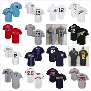 Vintage Tampa Bay 12 Wade Boggs Rays Baseball Jerseys New Yankees NY Boston Wade Boggs 26 Red Sox Stitched Shirts for mens size