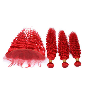 Bright Red Lace Frontal Closure 13x4 with Bundles Deep Wave Wavy Pure Red 3Bundles Indian Human Hair Weave Wefts with Frontal 4Pcs Lot