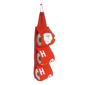 산타 클로스 타올 세트는 크리스마스 휴일 파티 화장지 가방 홀더 욕실 서류 가방 파우치 크리스마스 홈 인테리어 커버