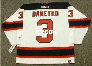 Mens #3 Кен DANEYKO Нью-Джерси дьяволы 2003 CCM ретро домашний хоккей Джерси или пользовательские любое имя или номер ретро Джерси