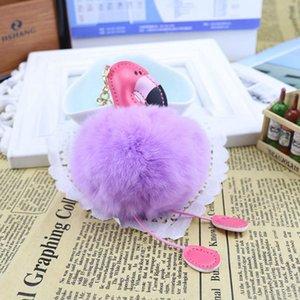 Милый пушистый помпон фламинго брелок женщины искусственный мех кролика мяч помпон брелок автомобиль сумка Pom Pom ключ Рей Кольцо держатель партии пользу RRA2829-3