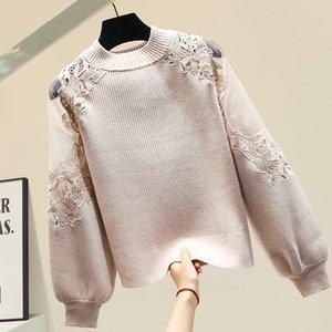 Экипировка для женщин Кружева Группы фонариков рукав свитер 2019 New Winter Толстых Свободного свитер Свитер Sweter Прицепного Femme Nancylim