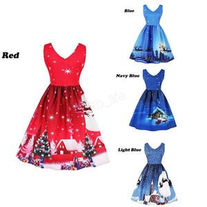 Lady Christmas Dress Xmas Eve Tree Snow Elk Printed Бальные платья лето принцессы Элегантный V-образным вырезом платья Vintage женское платье LJJA3058
