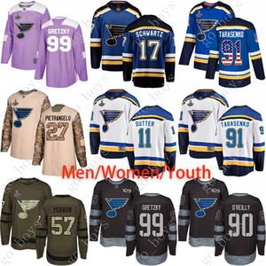 St. Louis su misura Jersey Blu Uomini Donne Youth 99 Gretzky 17 Schwartz 27 Pietrangelo 11 Schenn 90 O'Reilly 57 Perron USA Flag Hockey