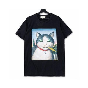 20FW Cat Big Printed TEE Loose T-Shirt Crew Neck High Street Short Sleeves Summer Men Women Couple Breathable Crew Neck Cool HFHLTX097