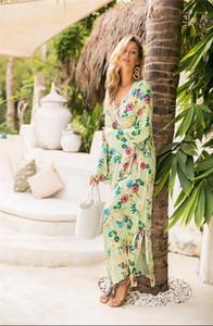 الرباط انقسام طويل فضفاض طويل فستان مصمم Famale الملابس النسائية مضيئة كم طباعة اللباس والأزياء V الرقبة