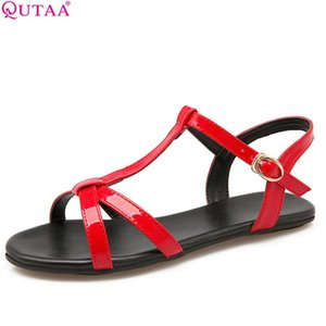 QUTAA 2020 Women Sandals Pu Leather All Match Casual Plat Sandals Buckle Leisure Westrn Stylelow Heel Women Size 34-43