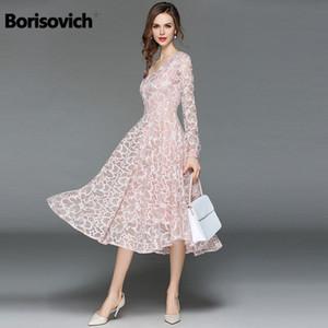 Borisovich Vestido de encaje casual para mujer Nuevo 2018 Moda otoño Manga larga con cuello en v Elegante Delgado A-line Vestidos de fiesta para mujer M398 MX19070302