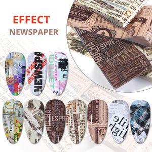 10pcs jornal Adesivos Em prego Transferência Foils Para Art Nail Stickers Decalques Decoração DIY Acessórios