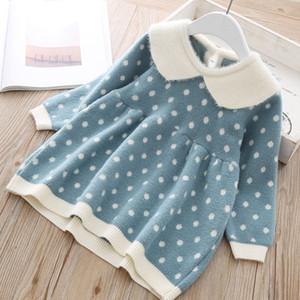 Mädchen Winter Wollpullover Dot Rüschen Umlegekragen A-Line Tops Kinderkleidung Mädchen Sweater 07