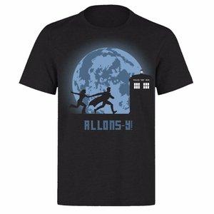Dr Who Luna Lua Tempo de Viagem Tardis Doctor Who Unisex Preto Ph37 T-shirt Impressão Camiseta Harajuku Homens de Manga Curta Top