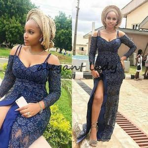 2019 robes de soirée de style Asoebi haut de soirée dentelle royale bleue fente sexy manches longues Ankara robe de soirée africaine