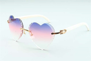 Direct sales high-quality new heart shaped cutting lens sunglasses 8300687, natural white buffalo horn temples size: 58-18-140 mm