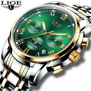 Uhren Herren 2019 LIGE Top-Marke Luxus Green Fashion Chronograph Male Sport-wasserdichte All Steel Quarzuhr Relogio Masculino CX200805