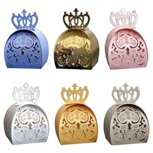 25pcs pack Love Heart Crown Laser Cut Hollow Favors Gifts Chocolate Candy Boxes Baby Shower Wedding Party Supplies