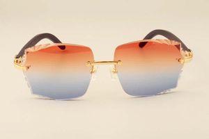 Atacado-Nova fábrica de moda de luxo direto óculos de sol 3524014 óculos de sol de madeira preto natural lentes de gravura, personalizado privado, gravado