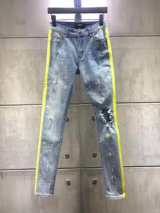 2019 Mens Lochjeans Neue Modedesigner-dünner Mens riss Biker-beiläufige Hosen Hip-Hop-Jeans Denim-lange Hosen