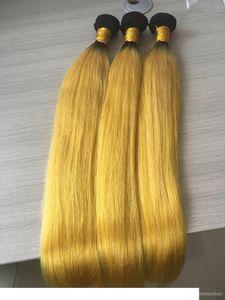 A 3 Bundle Ombre Hair Extension Giallo Ombre trama dei capelli tesse brasiliani diritti serici Bundles all'ingrosso dei capelli