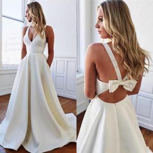 2020 Nuova a buon mercato Abiti da sposa con tasche sexy l'arco Backless una linea raso Summer Garden Boemia nuziale Gowns BM1551
