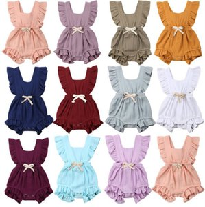 Ropa de niños Verano Encaje Manga Escalada Traje Algodón Cáñamo Plisado Color caramelo Habercoat 11 colores Opcional
