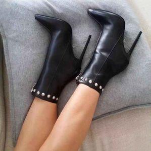 dimensioni da 33 a 42 a metà sexy zip rivetti sottolineato donne stivali tacco alto stivaletti alla caviglia di design di lusso vengono con la scatola
