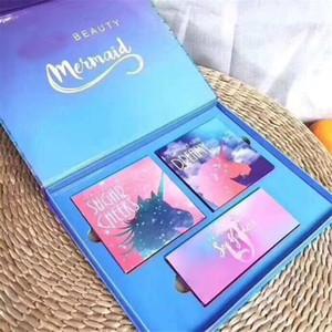caixa de marca de moda Mermaid Eyeshadow Makeup Palette Ft Unicorn Mermaid 3 em 1 Eye Set Sombra Cosmetic presente