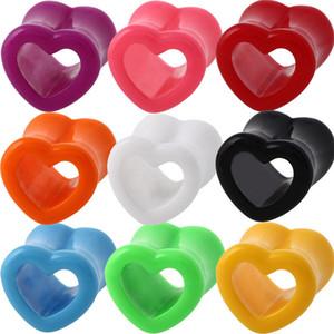 18 unids / lote Acrílico Corazón Hollow Ear Flesh Tunnels Expander Gauges Double Flared Earlets Ear Plug Piercing Body Jewelry 4mm-12mm