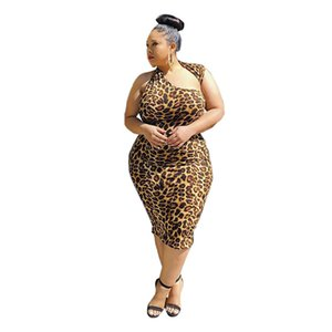 2020 Nouveaux imprimé léopard femmes Robes Casual Robe sans manches Halter Leopard Bodycon Vêtements Femme Taille Plus 4XL