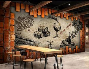 Retro Şarap Depo Mahzeni Manor Şarap Evi Duvar Custom Made Büyük ve Orta Duvar İpek Wallpaper papel de Parede