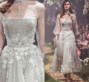 Vestido 2020 Paolo Sebastián vestidos de baile en 3D de flores apliques de encaje transparente de alta partido del cuello la altura del tobillo Vestidos Vestidos de Fiesta Una línea tarde