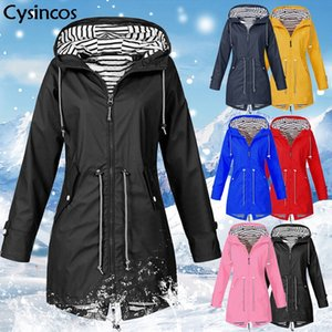 Kadınlar Su geçirmez Ceket Kadın 2019 için Açık Jacket Cysincos Sonbahar Kış Fermuar Coat Yürüyüş Spor Giyim Tırmanma