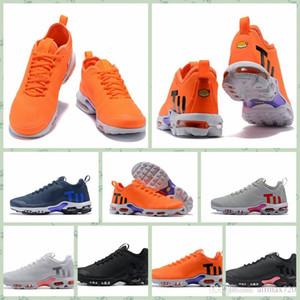 Nike TN KPU Mercurial Plus Tn 2018 almofada de ar Dos Homens Chaussures SE Preto Branco Laranja Desinger Tênis de Corrida Dos Homens Formadores Tênis Esportivos tamanho