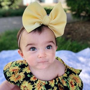 Baby Big Bow Headband Nylon Newborn Turban Hair Bands Cute Over Sized Toddler Baby Girls Head Hair Accessories 16 Colors BT5275