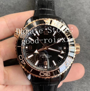 Orologi da polso in pelle di lusso superiore in oro rosa VS fabbrica Automatic Watch ceramica Caso Mens Cal.8906 Gmt Orologi Uomini Dive Master 600 Planet Eta