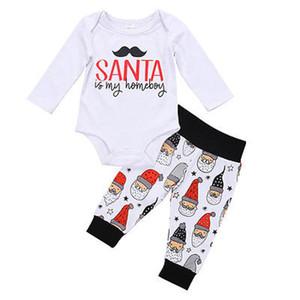 Santa Newborn Baby Boys Long Sleeve Cotton Tops Romper Pants 2pcs Outfits Set Clothes