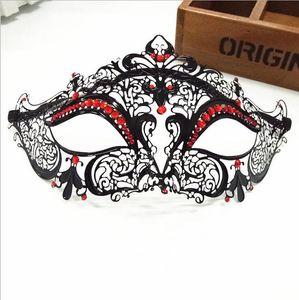 Haut de gamme masque métallique italien vénitien ajourées masque diamant rouge style tête de chat strass métal filigrané masquerade de luxe