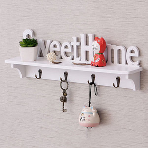 New White Home Wall Hook Holder Holder Shelf Forniture per la casa Cappotto Cappello portachiavi Appendiabiti Storage Rack Bedroom Decoration Q190603