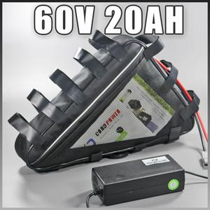 60 v 20AH LiFePO4 Triângulo Bateria para Scooter Elétrico da moto bateria Ebike