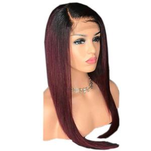 선염 컬러 T1b 99J 금발 레이스 프런트 인간의 머리 가발 어두운 뿌리 브라질 처녀 머리 부드러운 직선 전체 레이스 가발 사전 뜯어 낸