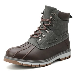 Warm-Pelz-Schnee-Stiefel Herren-Winter-Schuhe Herren-Leder-Schuh-Knöchel-Cowboy Wasserdichtes shose Mann Motorrad beiläufige Stiefel 2019 Schuhe