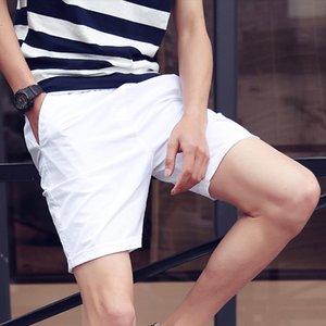 Homens Casual Shorts Algodão respirável Mid cordão joelho Sólido Ruched Preto Light Blue Moda Casual Curto Homens BINHIIRO